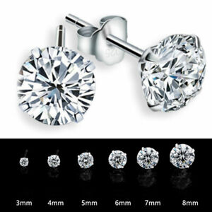 Rhodium Plated Silver Round Ear Studs 92.5 Sterling Silver Round with half CZ Ear studs