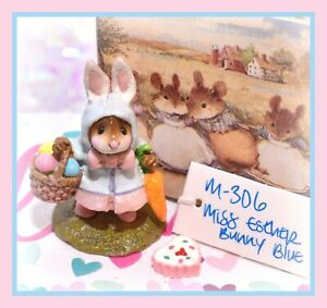 ❤️Wee Forest Folk Miss Esther Bunny M-306 Mouse Easter Rabbit Blue Retired WFF❤️