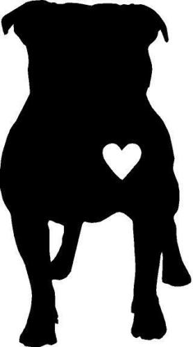 PITBULL Silhouette with heart vinyl decal
