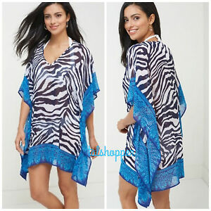 435f7eedf7 TOMMY BAHAMA Zebra Swimsuit Tunic Top Dress Caftan Kimono Cover Up ...