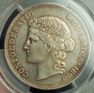 1890-Switzerland-Confederation-Silver-5-Francs-5-Franken-Coin-PCGS-XF-45