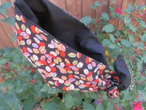 Pin Up Wide or Narrow Wired Fabric Headband Vintage Leaves reversible to Black
