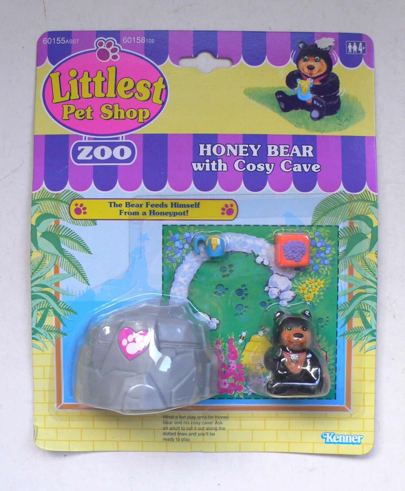 Vintage Kenner Littlest Pet Shop ZOO ZOO ZOO Honey Bear with Cosy Cave set MOC 1993 3744d1