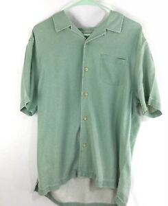 Tommy-Bahama-Mens-Shirt-Sz-L-100-Silk-Green-Island-Modern-Fit-Short-Sleeve