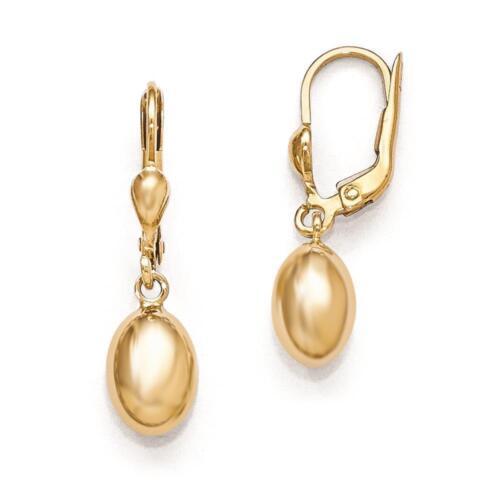 Leslies 14k Yellow Gold Polished Dangle Leverback Fancy Earrings 28mm x 7mm