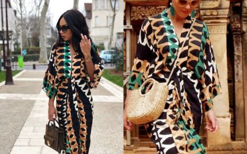 Robe Zara Kimono Imprimé Kimono Motif Femme Sexy Drapé Boho Robe Caftan Fente rBw5rxq