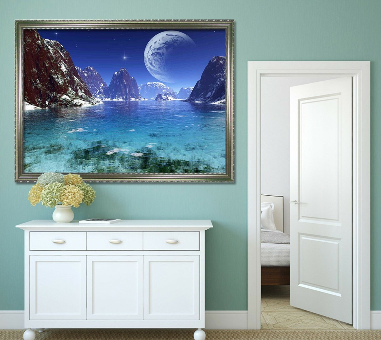 3D Moon River 677 Fake Framed Poster Home Decor Print Painting Unique Art Summer