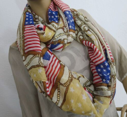 NEU XXL VOLUMEN LOOP RUND SCHAL USA BRITAIN FLAG STARS STRIPES BEIGE 184 X 115