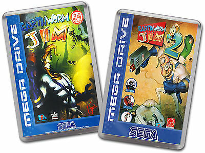 EARTHWORM JIM 1 & 2 Sega Megadrive Cover Art Fridge Magnet