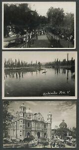 Xochimilco-Mexico-Two-Vintage-RPPC-Photo-Postcards-plus-Basilica-de-Guadalupe