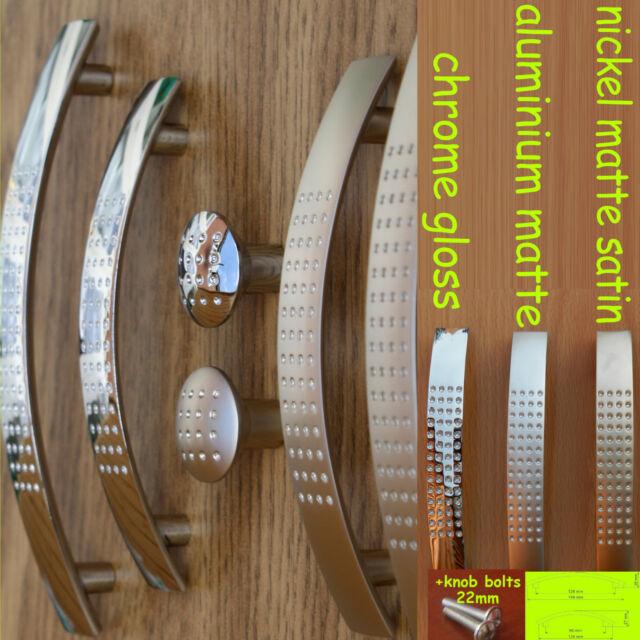 Kitchen Door Cupboard Cabinet Drawer dimpled Handles steel matte/gloss/satinUN8