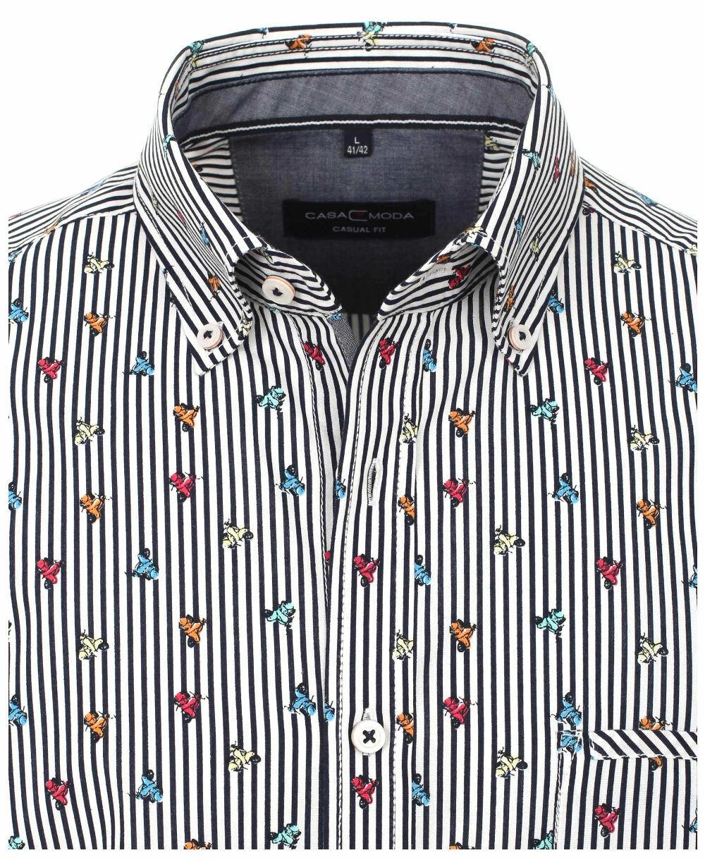 Kurzarmhemd Casamoda ClubEdition weiss dunkelblau Stripes Print bunt Vespa M-7XL