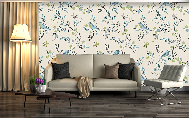 3D Blau bird, leaves 566 Wall Paper Print Wall Decal Deco Indoor Wall Murals