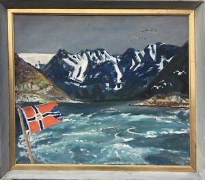 NATURALIST-KARL-ADSER-1912-1995-GRONLAND-GREENLAND-OIL-PAINTING-64-x-72-CM