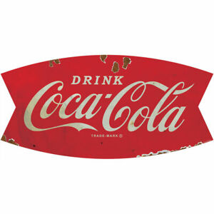 Drink Coca-Cola Fishtail Logo 1960s Wall Decal 24 x 12 Distressed Kitchen Decor