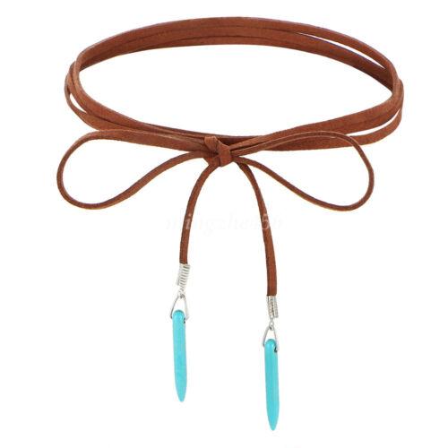 Femmes Long Wrap Collier Velours Cuir Turquoise Pendentif Tour de cou Bijoux Cadeau