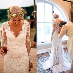 Details about Vintage Country Style Plus Size Mermaid Wedding Dresses Long  Sleeve Bridal Gowns