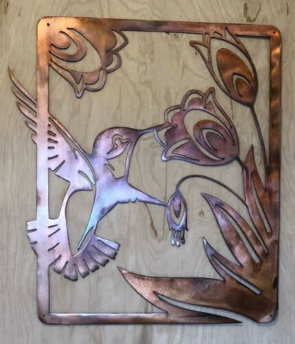 Hummingbird with Flower Scene Patina Finish Metal Wall Art Hanging