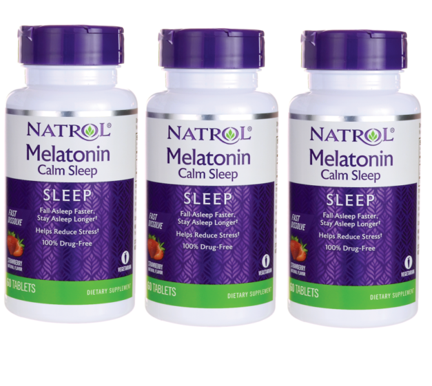 Lot of 3 Natrol Melatonin Calm Sleep Fast Dissolve - Strawberry 6 mg 180 Tabs