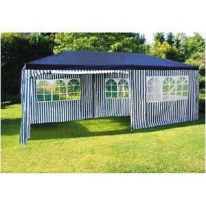 Détails sur Party-Pavillon 6x3m Bleu-Blanc Kiosque de Jardin Tente /  Chapiteau Réception
