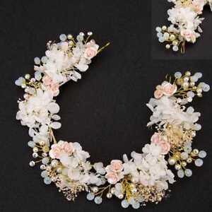 Damen-Hochzeit-Kommunion-Haarschmuck-Braut-Kopfschmuck-Perle-Haargesteck-Blume