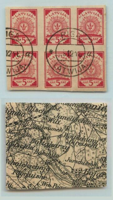 Latvia 1918 SC 1 used black and white map block of 6 . rta5607