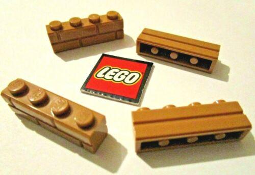 8 LEGO Medium Dark Flesh Embossed BRICKS 1x4 Element ID 6055309 Design ID 15533