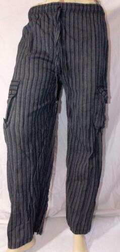 Commercio Equo E Solidale Gringo Pantaloni Cargo Da Combattimento Nero a Righe Cotone Hippy Hippy L