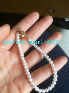 "Gorgeous AAA 9-10mm natural Akoya white round pearl bracelet 14k 7.5-8/"""