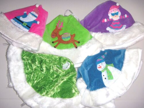 "Christmas Mini Tree Skirt 13/"" Velour Pink Green Purple w// Applique NEW"