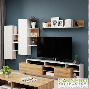 Mobili Soggiorno Dora Gihome Rovere Bianco Parete Attrezzata Porta Tv Moderna Ebay