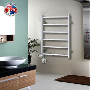 Bathroom Heated Towel Rack Warmer Rails Wall Mounted 304 Stainless Steel 6 Ba