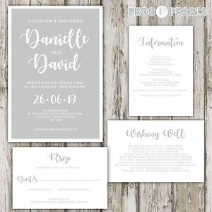 Personalised-Luxury-GREY-amp-WHITE-MODERN-wedding-invitations-packs-of-10