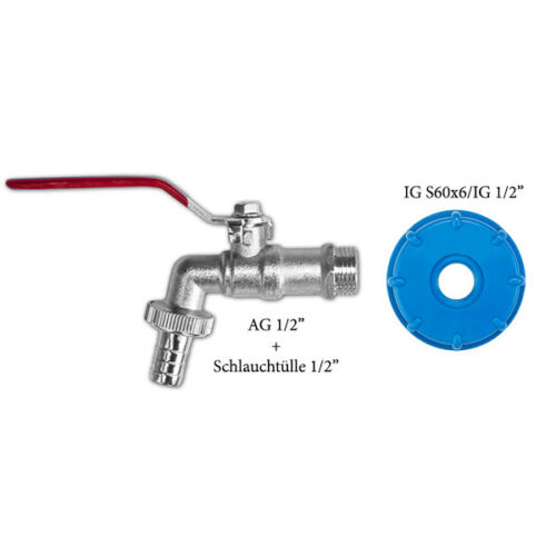 """IBC Adapter S60x6 Wasserhahn Zubehör Container Regenwassertank 1//2/"""" 3//4/"""" 1/"""""""