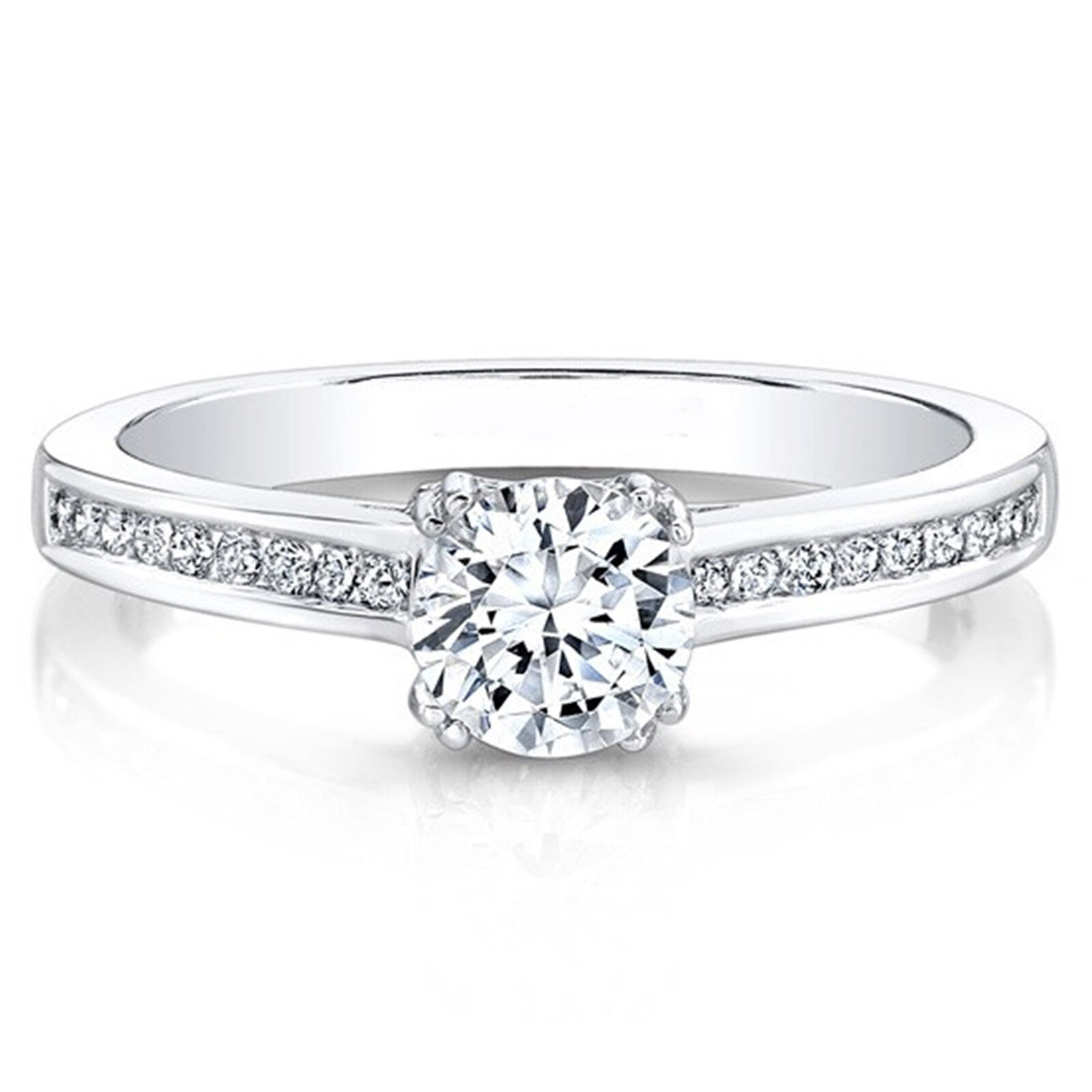 0.60 Ct Round Cut Real Diamond Engagement Ring 14K Solid White gold Size 5 6.5 7