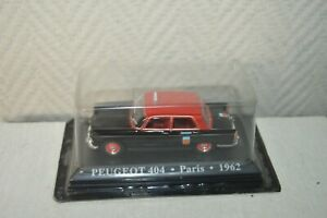 VOITURE-COLLECTION-TAXI-PEUGEOT-404-PARIS-1962-NEUF-METAL-CAR-ALTAYA-1-43