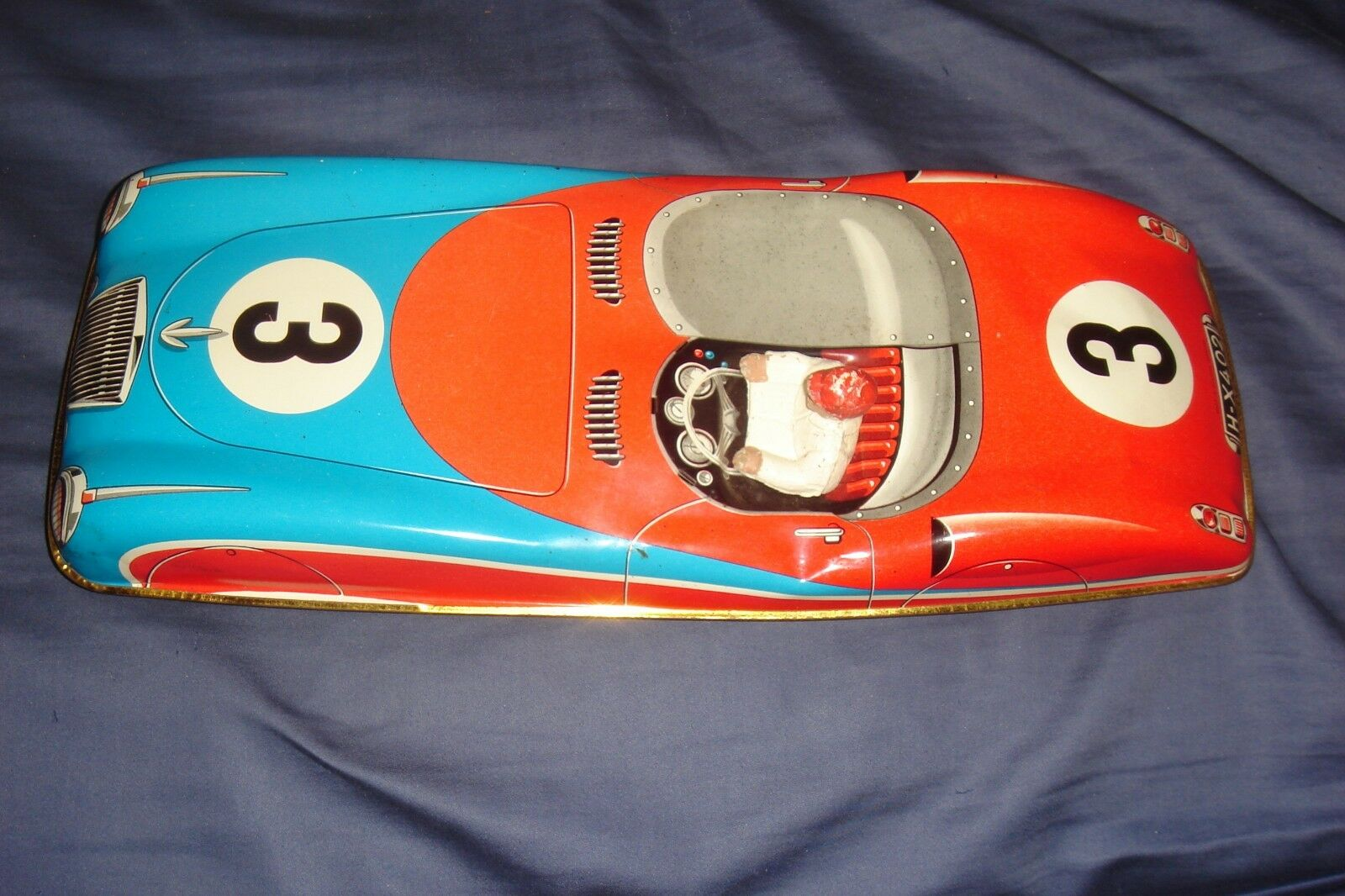 RARE  Georg Fischer TIN LITHO VINTAGE WESTERN GERMANY FRICTION RACER H-X402