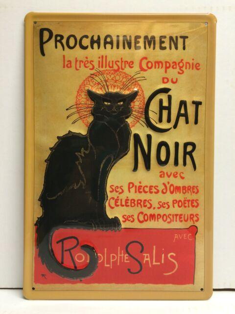 Chat Noir Black Cat Vtg Metal Sign 3D Embossed Wall Decor Garage French 20x30cm
