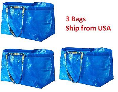 Lot of 3 pcs IKEA FRAKTA LARGE Carrier Bag Grocery Laundry Storage Tote Blue