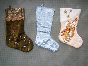 Lot-of-3-Embellished-CHRISTMAS-STOCKINGS-Excellent-May-never-have-been-used