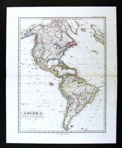 Details about 1874 Stieler Map - North & South America United States Canada  Brazil West Indies