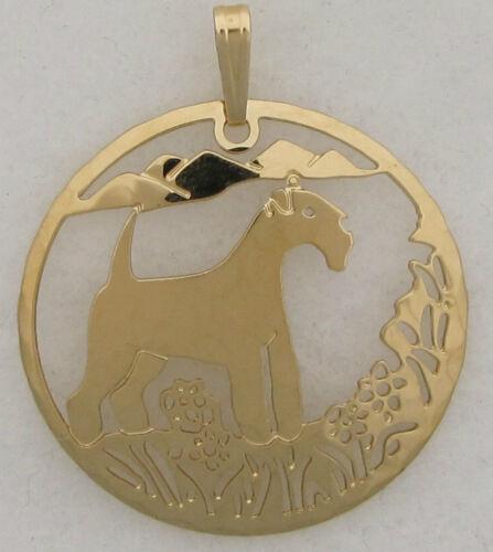 Lakeland Terrier Jewelry Gold Scene Pendant