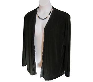 Chicos-Travelers-Open-Front-Cardigan-Jacket-Size-3-XL-16-18-Slinky-Chiffon-Trim