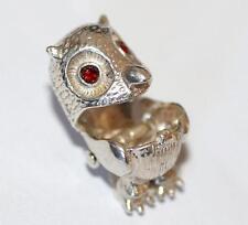 Vintage Sterling Silver Bracelet Charm Opening Owl Crystal Set  (3.4g)
