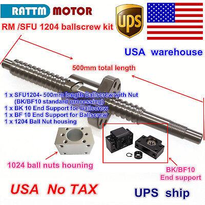 【UK】SFU1204 Set lead screw ball screw antibacklash ballscrew 1204-L500mm+BK//BF10
