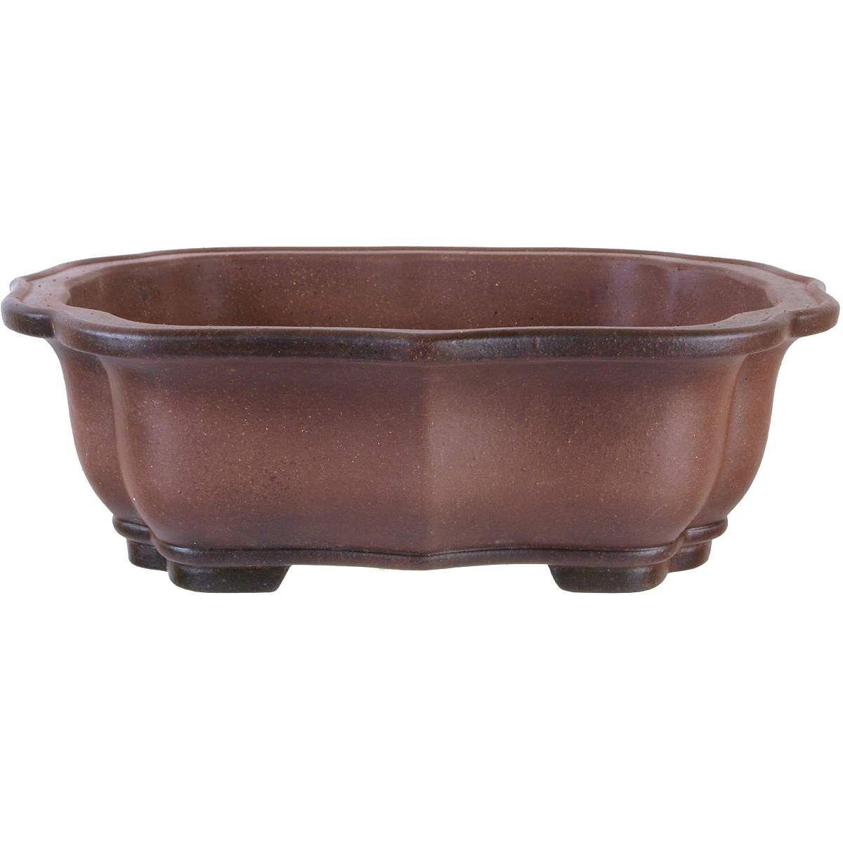 Vaso bonsai 39.5x32.5x12.5cm Marroneee anticato forma lotus in grès H40885AB