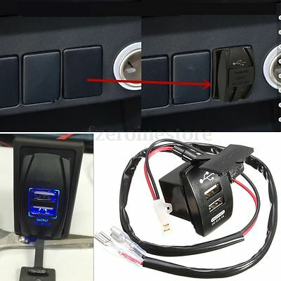 Dual Car Cigarette Lighter Socket Charger Power Adapter USB Splitter 12V Wire