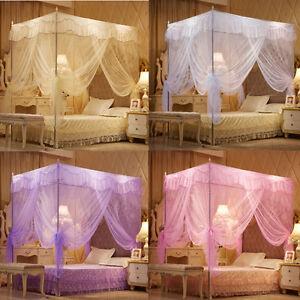 Esquina-4-encaje-ropa-de-cama-de-cifrado-Canopy-Netting-Princesa-Mosquitera-Tamano-Queen