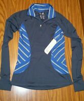 Kyodan Women's Athletic Stretchy Pullover 1/4 Zip Shirt W/thumb Holes Grey S