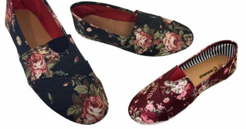 Women Canvas Slip-on Flats Flower Print With Soft Sole @ Best Price Style1211